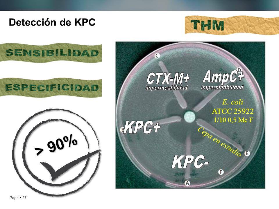 Page 27 Detección de KPC E. coli ATCC 25922 1/10 0,5 Mc F Cepa en estudio