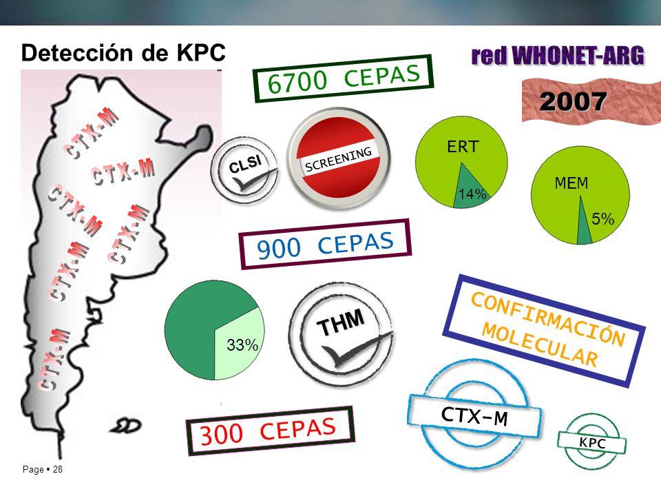 Page 28 Detección de KPC2007 6700 CEPAS 14% 5% ERT MEM 900 CEPAS 300 CEPAS SCREENING 33% KPC CTX-M CONFIRMACIÓN MOLECULAR