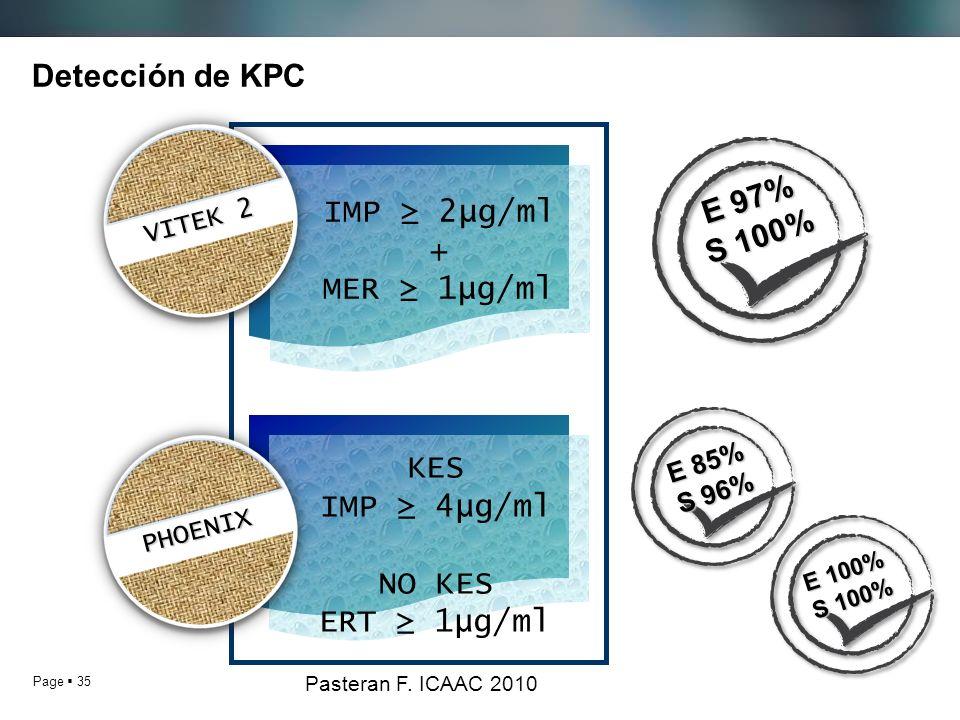 Page 35 Detección de KPC IMP 2µg/ml + MER 1µg/ml KES IMP 4µg/ml NO KES ERT 1µg/ml PHOENIX PHOENIX VITEK 2 VITEK 2 Pasteran F. ICAAC 2010