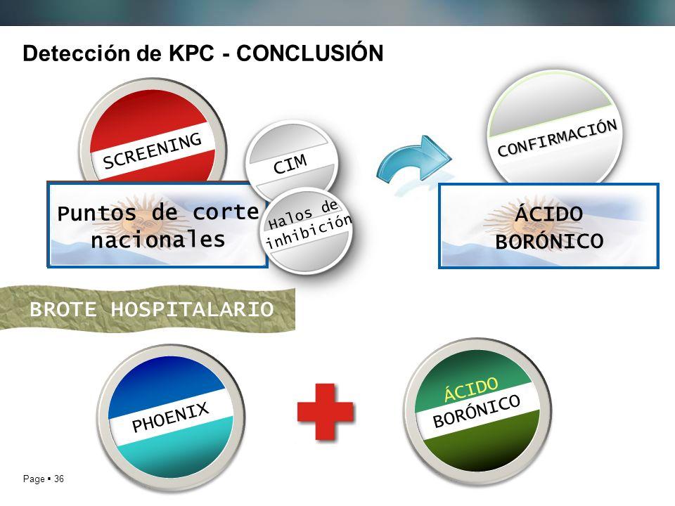 Page 36 Detección de KPC - CONCLUSIÓN SCREENINGPHOENIX ÁCIDO BORÓNICO BROTE HOSPITALARIO Puntos de corte del CLSI Puntos de corte nacionales CONFIRMAC
