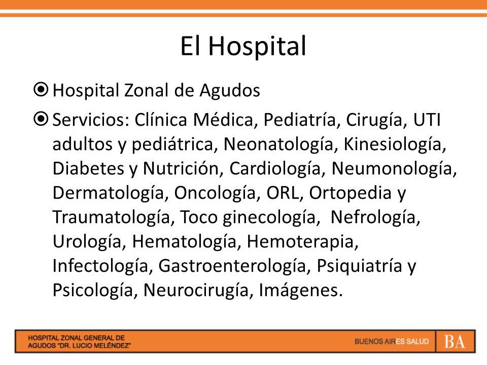 El Hospital Hospital Zonal de Agudos Servicios: Clínica Médica, Pediatría, Cirugía, UTI adultos y pediátrica, Neonatología, Kinesiología, Diabetes y N
