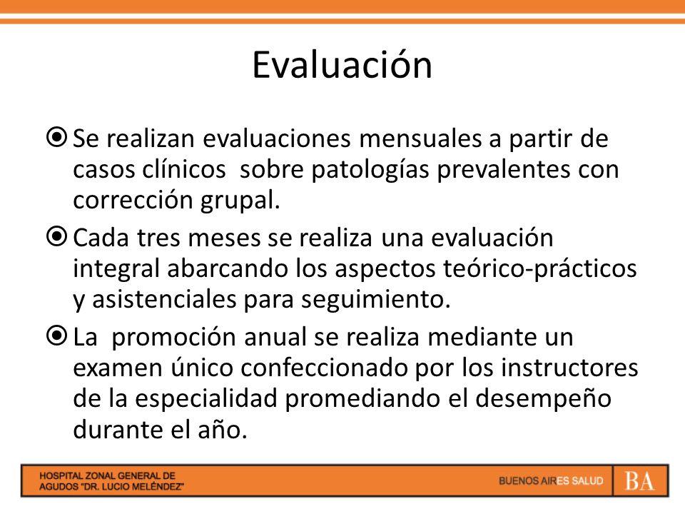 Evaluación Se realizan evaluaciones mensuales a partir de casos clínicos sobre patologías prevalentes con corrección grupal. Cada tres meses se realiz