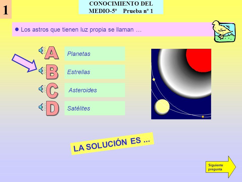 CONOCIMIENTO DEL MEDIO-5º Prueba nº 1 Los astros que tienen luz propia se llaman … 1 Planetas Estrellas Asteroides Satélites LA SOLUCIÓN ES...