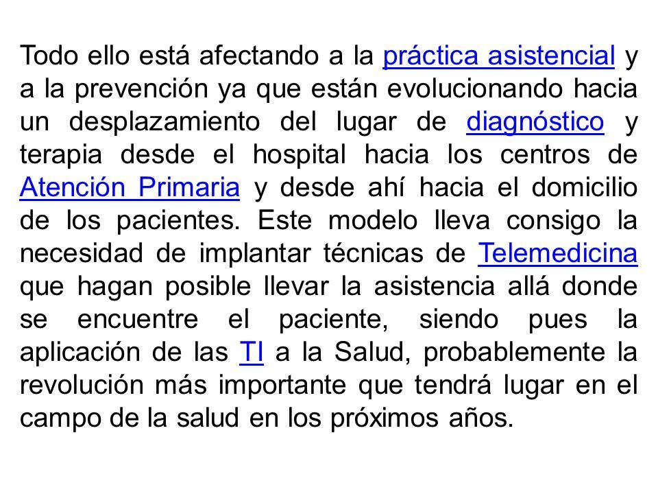 Todo ello está afectando a la práctica asistencial y a la prevención ya que están evolucionando hacia un desplazamiento del lugar de diagnóstico y ter