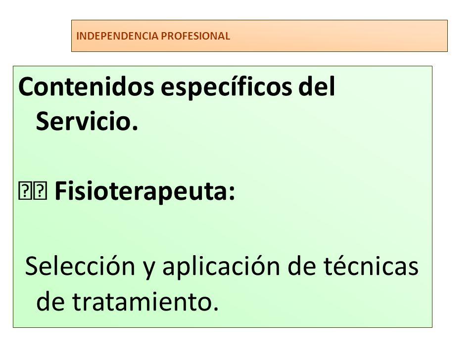 INDEPENDENCIA PROFESIONAL Contenidos específicos del Servicio. Fisioterapeuta: Selección y aplicación de técnicas de tratamiento.