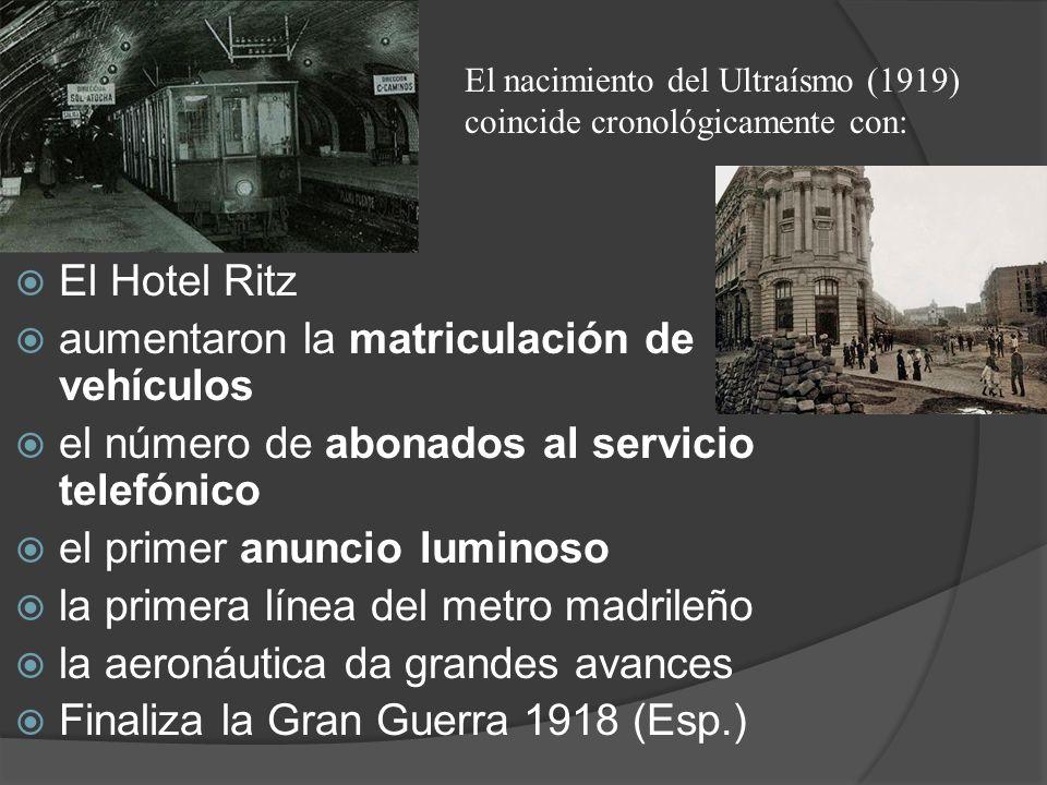 El Hotel Ritz aumentaron la matriculación de vehículos el número de abonados al servicio telefónico el primer anuncio luminoso la primera línea del me