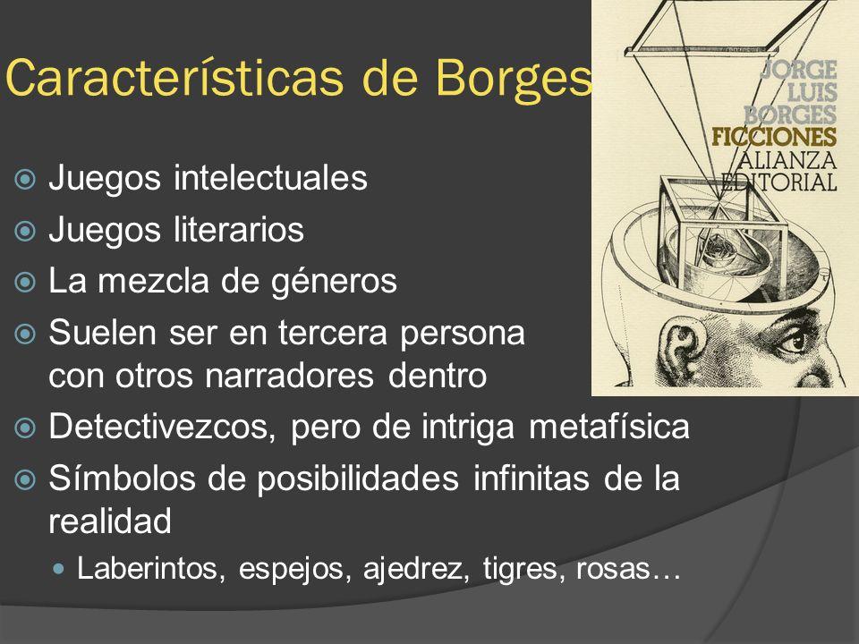 Características de Borges Juegos intelectuales Juegos literarios La mezcla de géneros Suelen ser en tercera persona con otros narradores dentro Detect