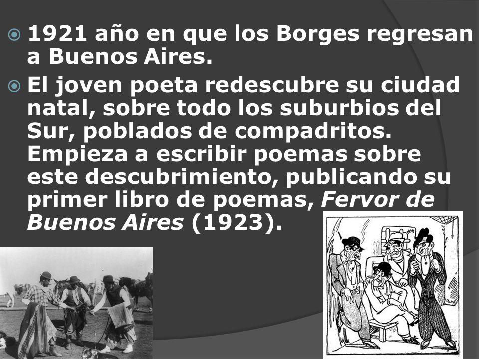 1921 año en que los Borges regresan a Buenos Aires. El joven poeta redescubre su ciudad natal, sobre todo los suburbios del Sur, poblados de compadrit