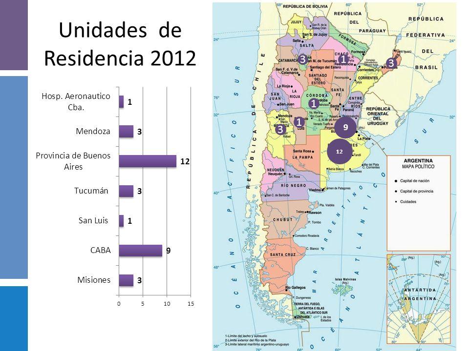 Vacantes año 2012 Total país: 37 vacantes en 2012 16 1212 3 3 1 1 1
