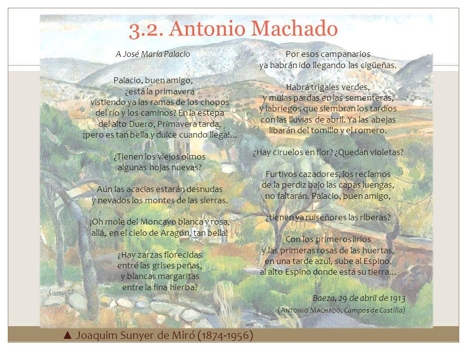 3.2. Antonio Machado A José María Palacio Palacio, buen amigo, ¿está la primavera vistiendo ya las ramas de los chopos del río y los caminos? En la es