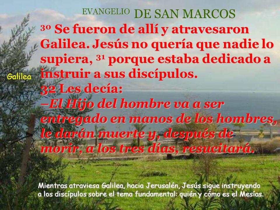 EVANGELIO DE JESUCRISTO SEGUN SAN MARCOS R /. Gloria a Ti, Señor. Segundo anuncio de la pasión y resurrección (Mt. 17,22s; Lc. 9,44s)