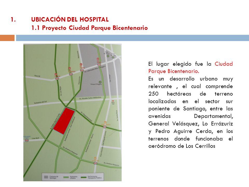 1.UBICACIÓN DEL HOSPITAL 1.1 Proyecto Ciudad Parque Bicentenario El lugar elegido fue la Ciudad Parque Bicentenario. Es un desarrollo urbano muy relev