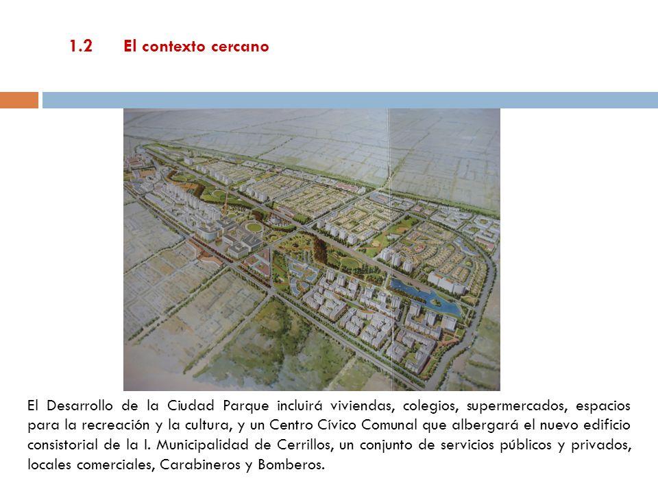 1.2 El contexto cercano El Desarrollo de la Ciudad Parque incluirá viviendas, colegios, supermercados, espacios para la recreación y la cultura, y un