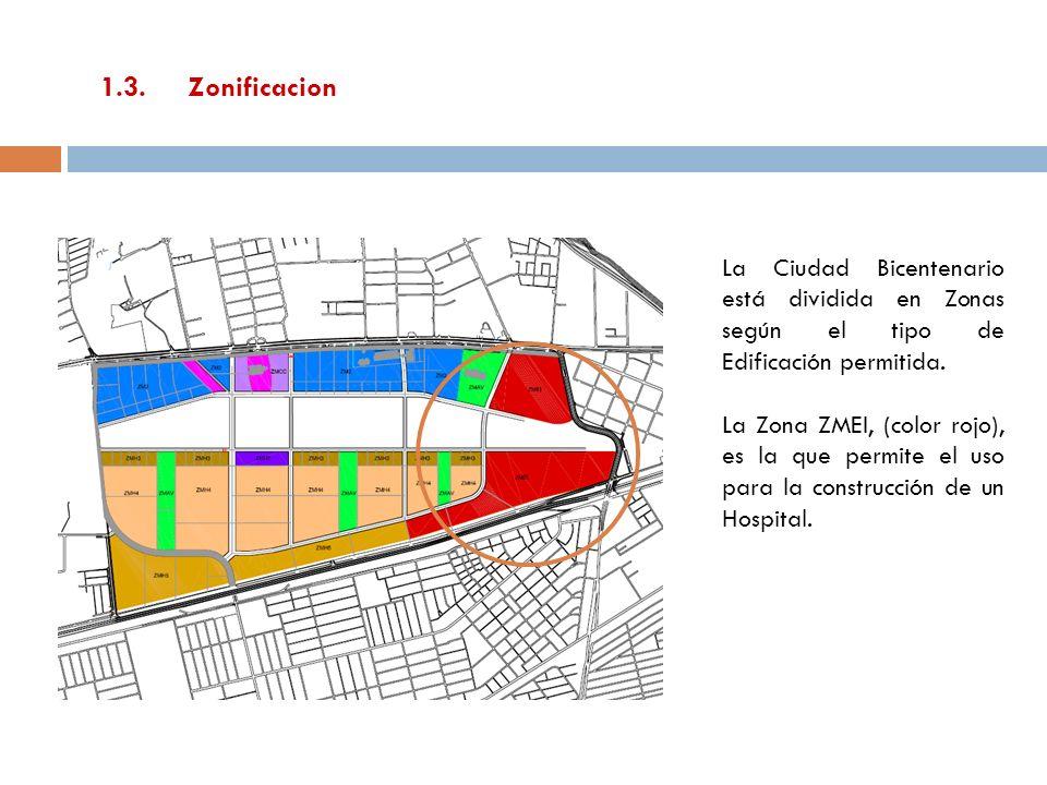 1.3.Zonificacion La Ciudad Bicentenario está dividida en Zonas según el tipo de Edificación permitida. La Zona ZMEI, (color rojo), es la que permite e