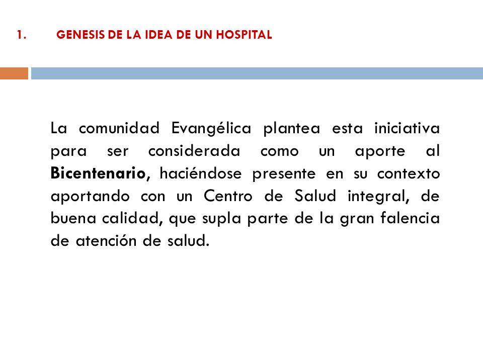 1.GENESIS DE LA IDEA DE UN HOSPITAL La comunidad Evangélica plantea esta iniciativa para ser considerada como un aporte al Bicentenario, haciéndose pr