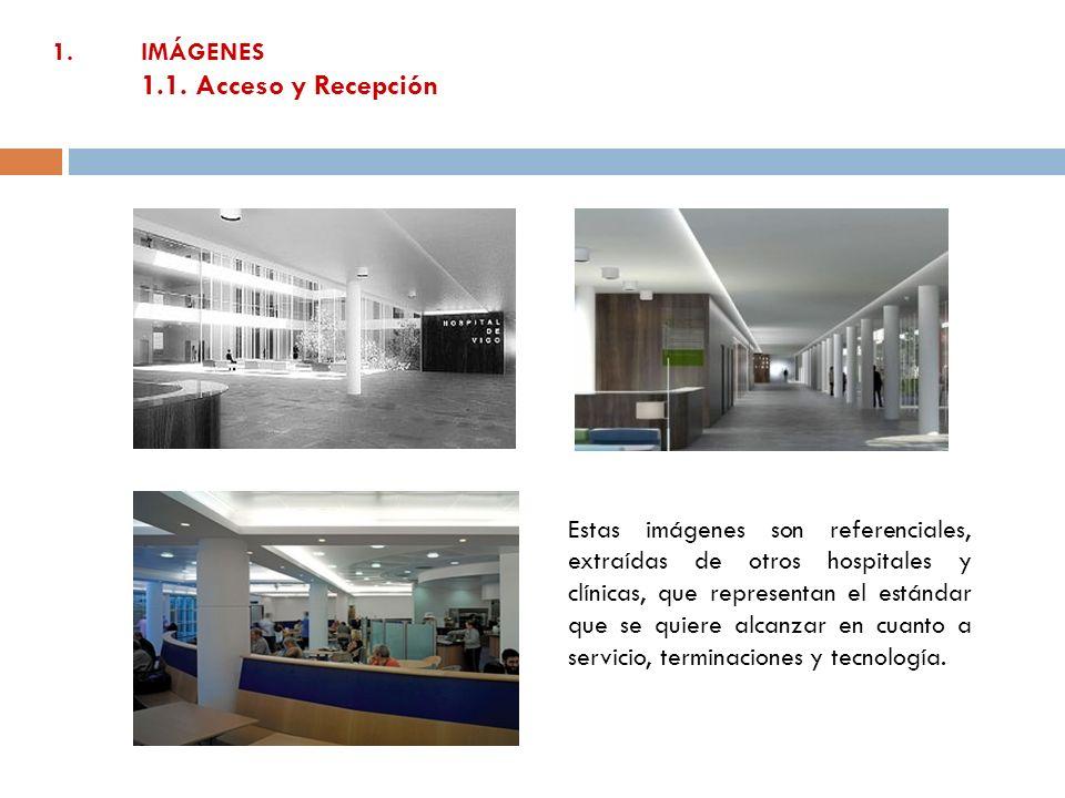 1.IMÁGENES 1.1. Acceso y Recepción Estas imágenes son referenciales, extraídas de otros hospitales y clínicas, que representan el estándar que se quie