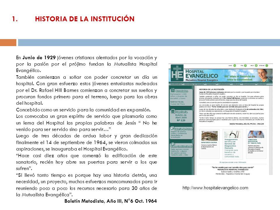 1. HISTORIA DE LA INSTITUCIÓN En Junio de 1929 jóvenes cristianos alentados por la vocación y por la pasión por el prójimo fundan la Mutualista Hospit