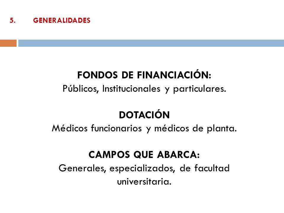 5.GENERALIDADES FONDOS DE FINANCIACIÓN: Públicos, Institucionales y particulares. DOTACIÓN Médicos funcionarios y médicos de planta. CAMPOS QUE ABARCA