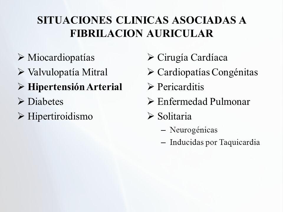 Miocardiopatías Valvulopatía Mitral Hipertensión Arterial Diabetes Hipertiroidismo Cirugía Cardíaca Cardiopatías Congénitas Pericarditis Enfermedad Pu