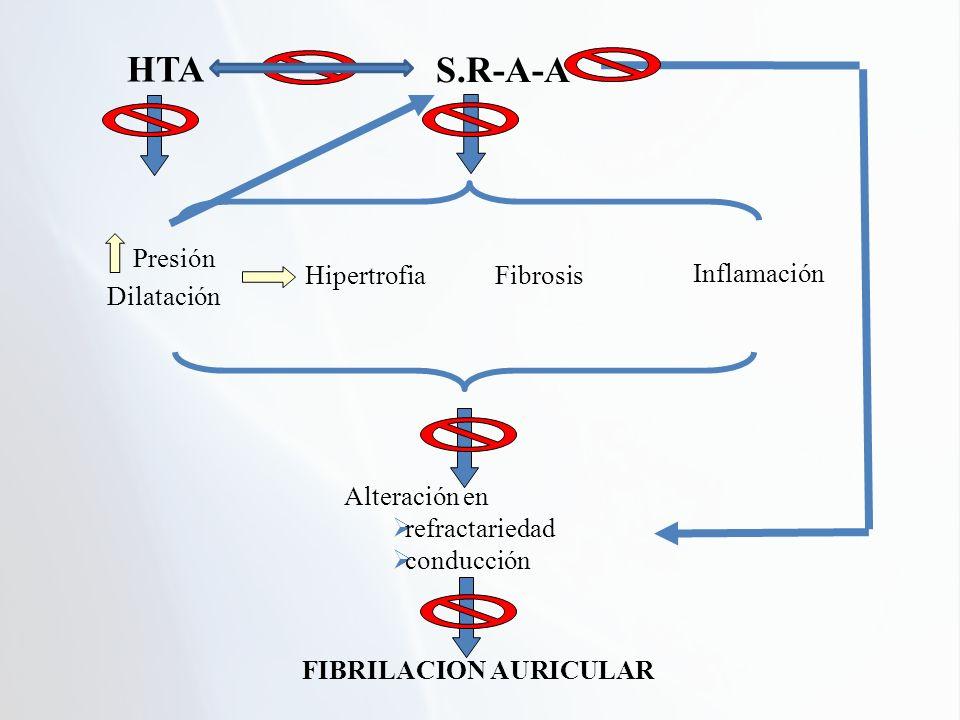 S.R-A-A Presión Dilatación HipertrofiaFibrosis Inflamación Alteración en refractariedad conducción FIBRILACION AURICULAR HTA