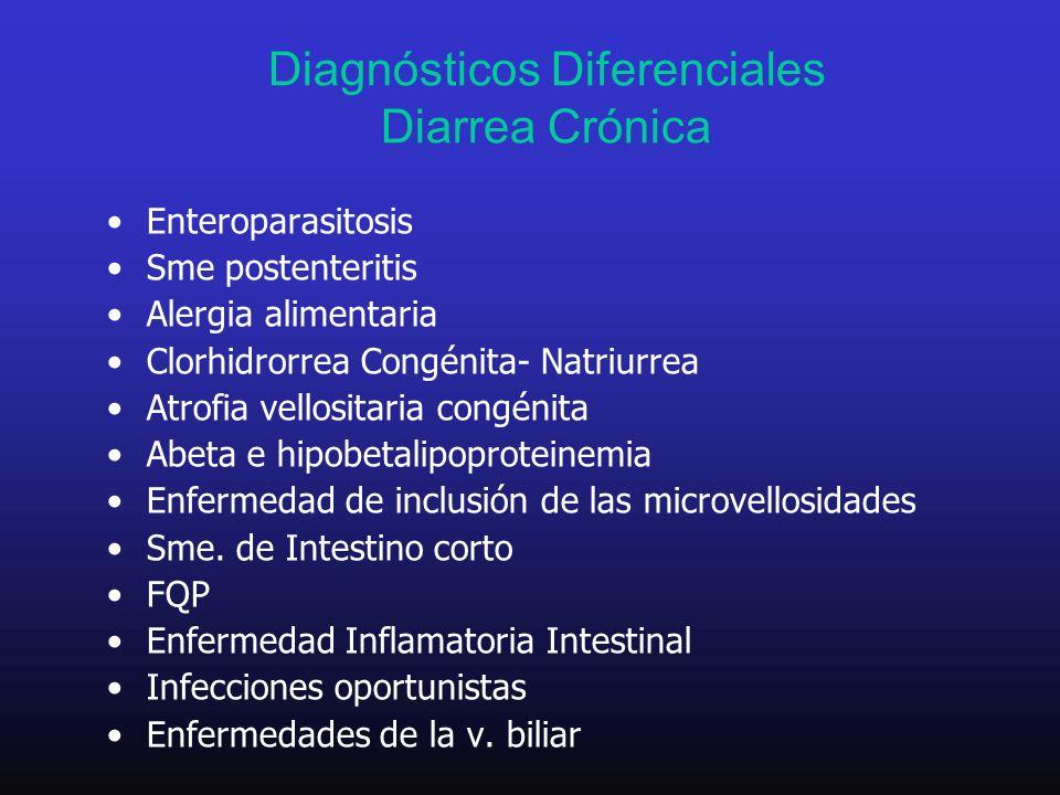 Diagnósticos Diferenciales Diarrea Crónica Enteroparasitosis Sme postenteritis Alergia alimentaria Clorhidrorrea Congénita- Natriurrea Atrofia vellosi