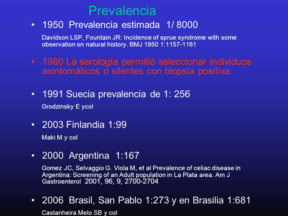 Prevalencia 1950 Prevalencia estimada 1/ 8000 Davidson LSP, Fountain JR: Incidence of sprue syndrome with some observation on natural history.