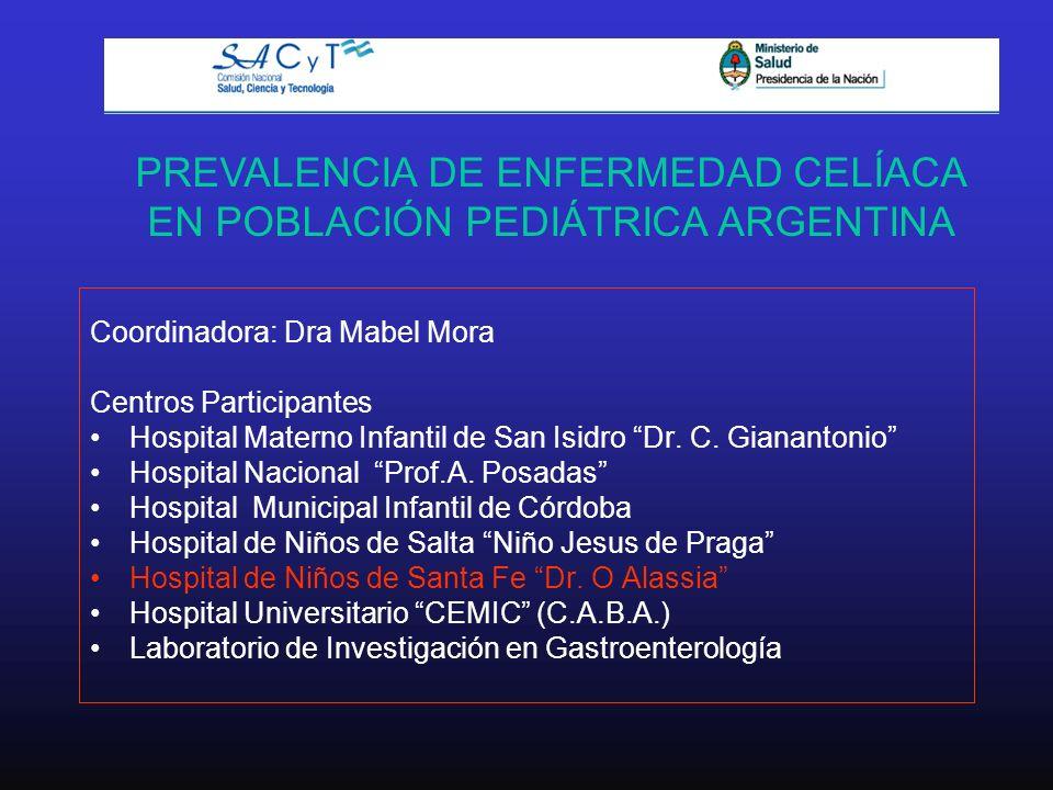 PREVALENCIA DE ENFERMEDAD CELÍACA EN POBLACIÓN PEDIÁTRICA ARGENTINA Coordinadora: Dra Mabel Mora Centros Participantes Hospital Materno Infantil de Sa