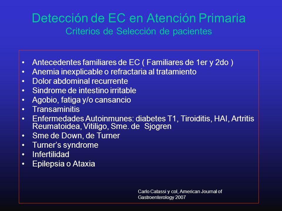 Detección de EC en Atención Primaria Criterios de Selección de pacientes Antecedentes familiares de EC ( Familiares de 1er y 2do ) Anemia inexplicable