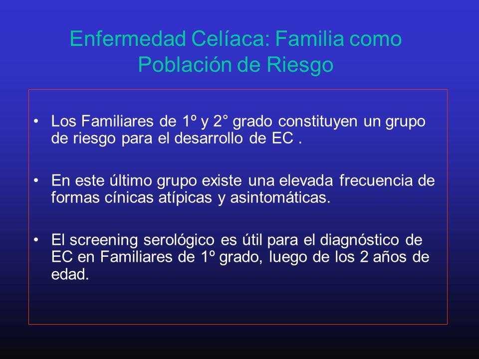 Enfermedad Celíaca: Familia como Población de Riesgo Los Familiares de 1º y 2° grado constituyen un grupo de riesgo para el desarrollo de EC. En este