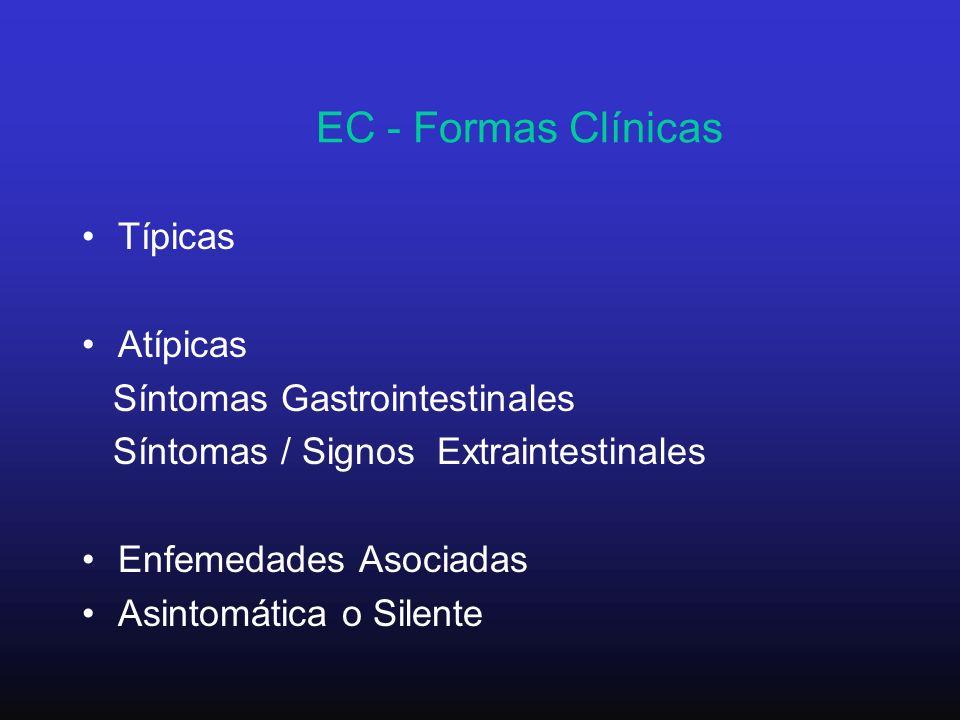 EC - Formas Clínicas Típicas Atípicas Síntomas Gastrointestinales Síntomas / Signos Extraintestinales Enfemedades Asociadas Asintomática o Silente