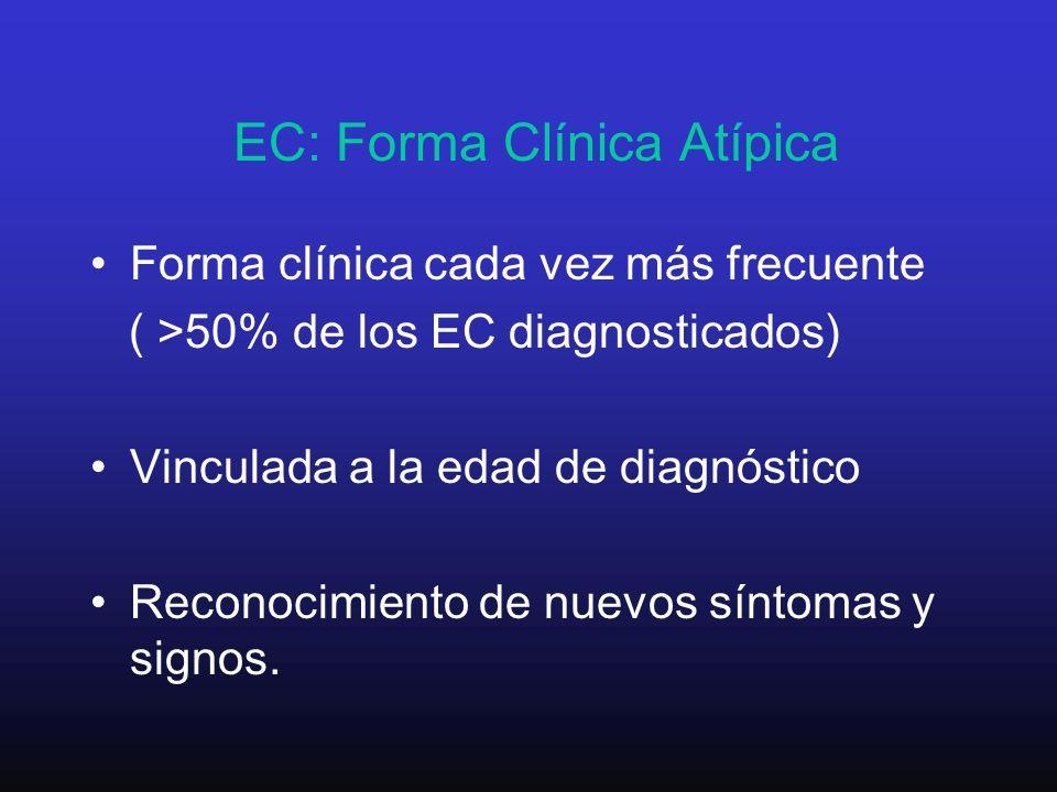 EC: Forma Clínica Atípica Forma clínica cada vez más frecuente ( >50% de los EC diagnosticados) Vinculada a la edad de diagnóstico Reconocimiento de n