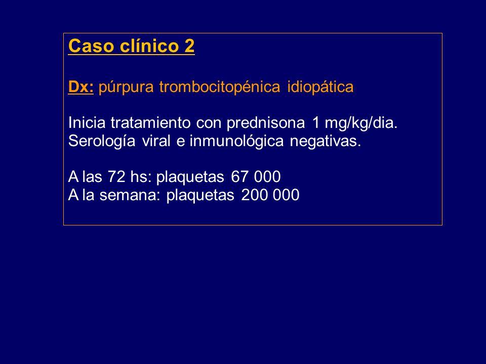 Caso clínico 2 Dx: púrpura trombocitopénica idiopática Inicia tratamiento con prednisona 1 mg/kg/dia.