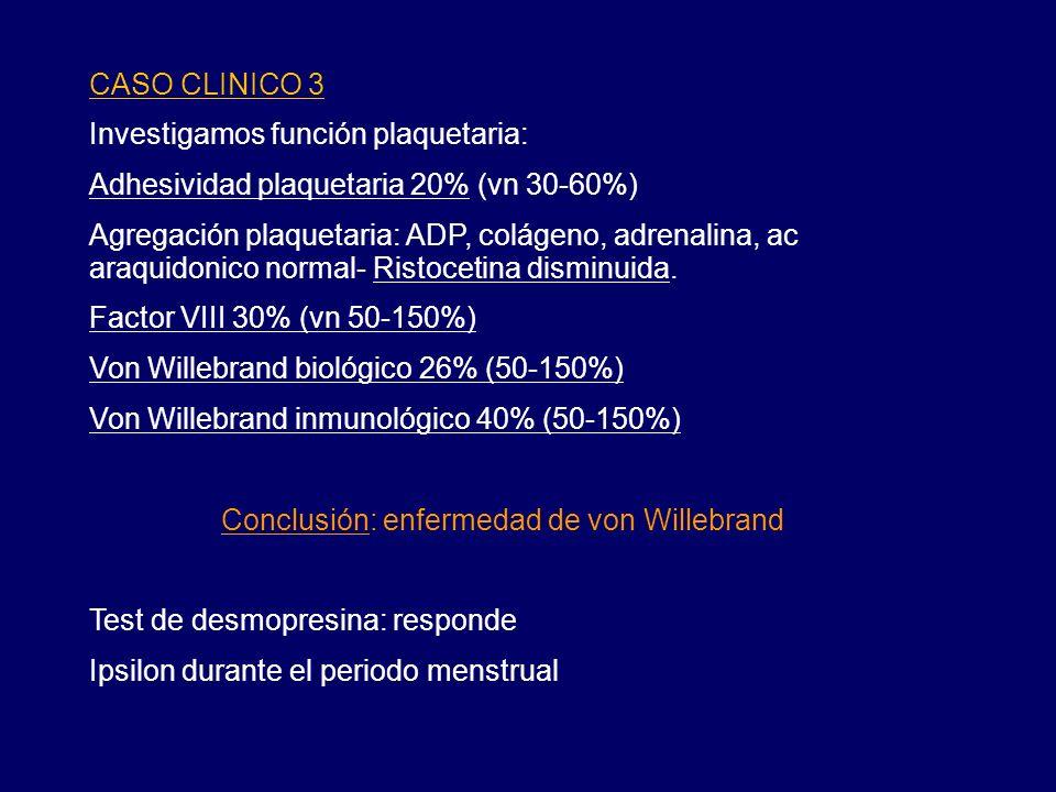 CASO CLINICO 3 Investigamos función plaquetaria: Adhesividad plaquetaria 20% (vn 30-60%) Agregación plaquetaria: ADP, colágeno, adrenalina, ac araquidonico normal- Ristocetina disminuida.