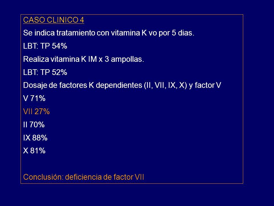 CASO CLINICO 4 Se indica tratamiento con vitamina K vo por 5 dias.