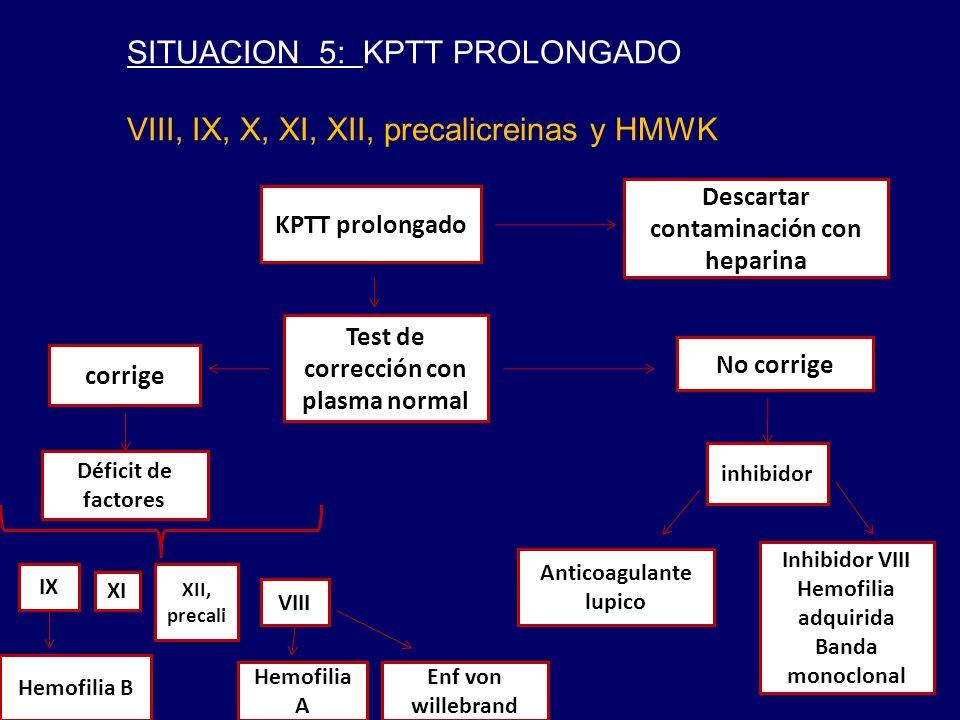 SITUACION 5: KPTT PROLONGADO VIII, IX, X, XI, XII, precalicreinas y HMWK KPTT prolongado Test de corrección con plasma normal corrige Déficit de factores IX XI XII, precali VIII Hemofilia B Hemofilia A Enf von willebrand No corrige inhibidor Anticoagulante lupico Descartar contaminación con heparina Inhibidor VIII Hemofilia adquirida Banda monoclonal
