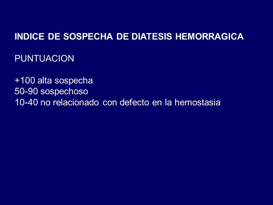 INDICE DE SOSPECHA DE DIATESIS HEMORRAGICA PUNTUACION +100 alta sospecha 50-90 sospechoso 10-40 no relacionado con defecto en la hemostasia