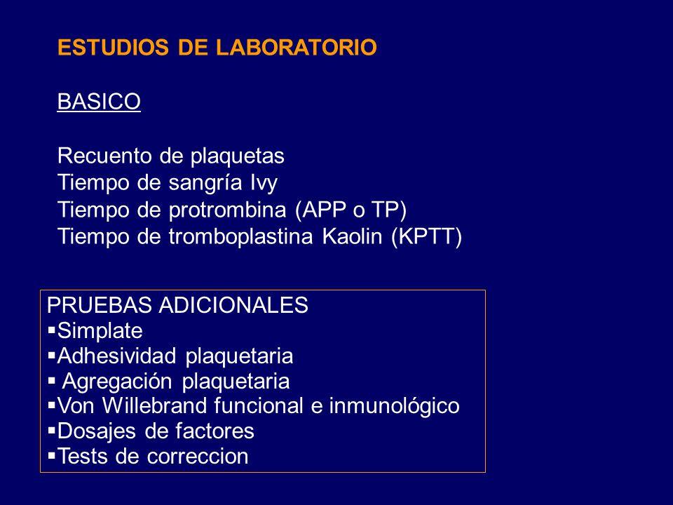 ESTUDIOS DE LABORATORIO BASICO Recuento de plaquetas Tiempo de sangría Ivy Tiempo de protrombina (APP o TP) Tiempo de tromboplastina Kaolin (KPTT) PRUEBAS ADICIONALES Simplate Adhesividad plaquetaria Agregación plaquetaria Von Willebrand funcional e inmunológico Dosajes de factores Tests de correccion