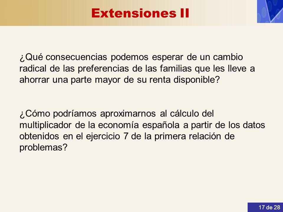 Extensiones II 17 de 28 ¿Qué consecuencias podemos esperar de un cambio radical de las preferencias de las familias que les lleve a ahorrar una parte