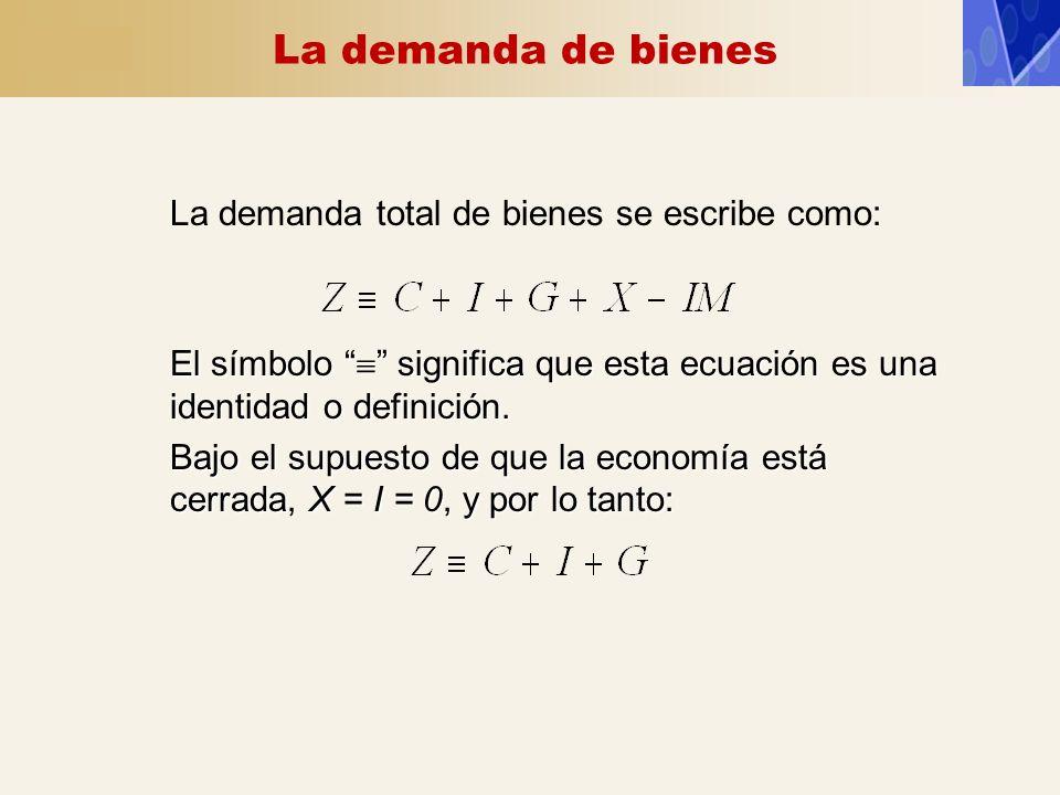 La demanda de bienes La demanda total de bienes se escribe como: El símbolo significa que esta ecuación es una identidad o definición. Bajo el supuest