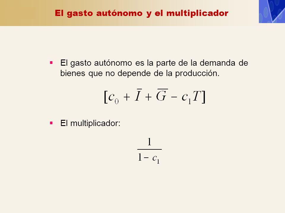 El gasto autónomo y el multiplicador El gasto autónomo es la parte de la demanda de bienes que no depende de la producción. El multiplicador: