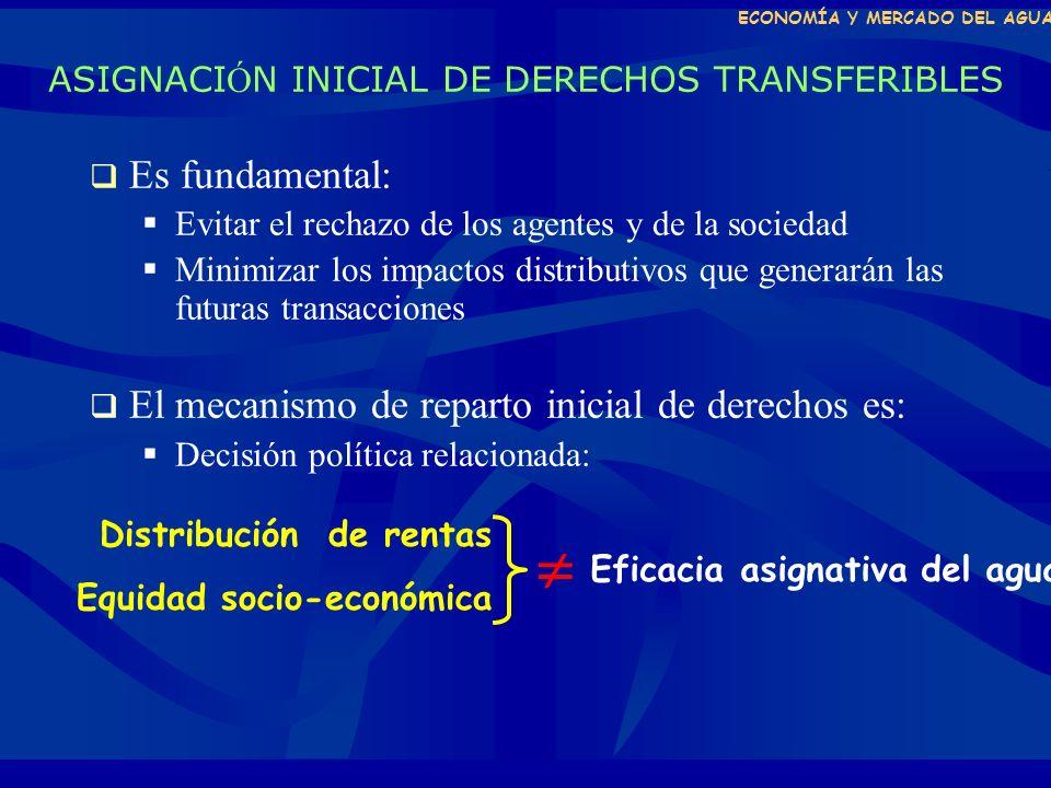 ECONOMÍA Y MERCADO DEL AGUA ASIGNACI Ó N INICIAL DE DERECHOS TRANSFERIBLES A.- Sist.