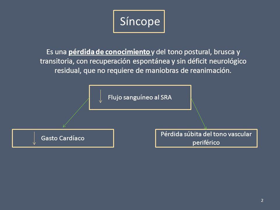 2 Síncope Es una pérdida de conocimiento y del tono postural, brusca y transitoria, con recuperación espontánea y sin déficit neurológico residual, qu