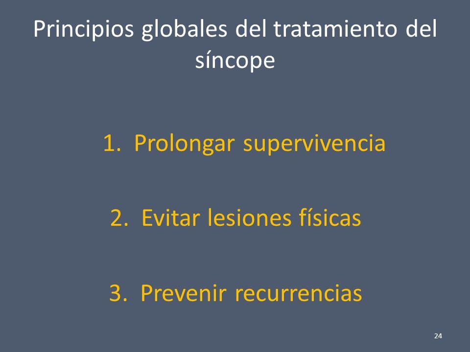 Principios globales del tratamiento del síncope 1. Prolongar supervivencia 2. Evitar lesiones físicas 3. Prevenir recurrencias 24