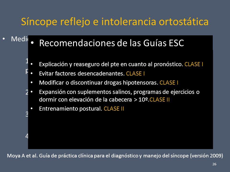 Síncope reflejo e intolerancia ortostática Medidas sobre el estilo de vida: ( No farmacológicas ) 1.Educación y tranquilización en cuanto a benignidad