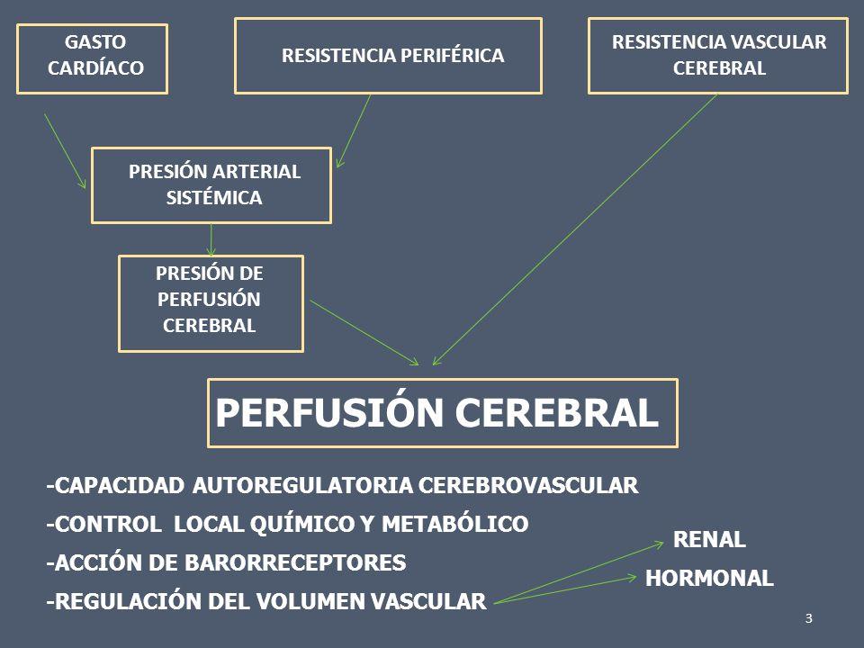 3 GASTO CARDÍACO RESISTENCIA PERIFÉRICA RESISTENCIA VASCULAR CEREBRAL PRESIÓN ARTERIAL SISTÉMICA PRESIÓN DE PERFUSIÓN CEREBRAL PERFUSIÓN CEREBRAL -CAP