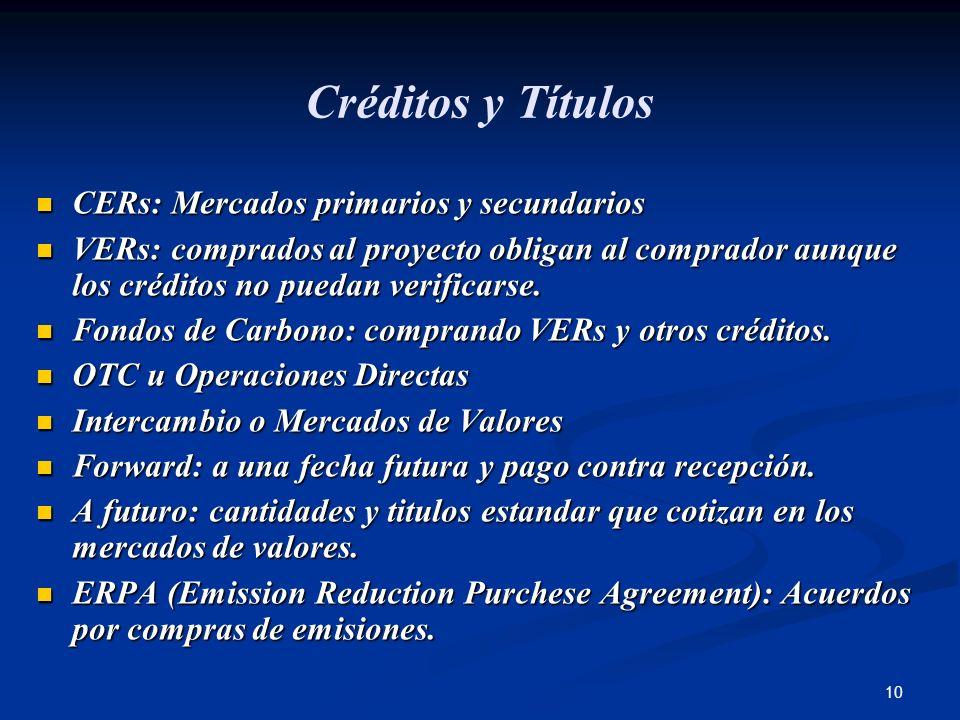 10 Créditos y Títulos CERs: Mercados primarios y secundarios CERs: Mercados primarios y secundarios VERs: comprados al proyecto obligan al comprador a