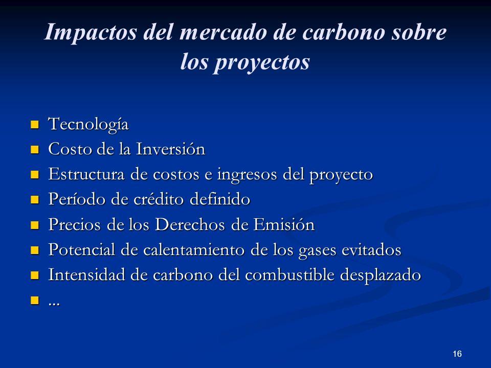 16 Impactos del mercado de carbono sobre los proyectos Tecnología Tecnología Costo de la Inversión Costo de la Inversión Estructura de costos e ingres