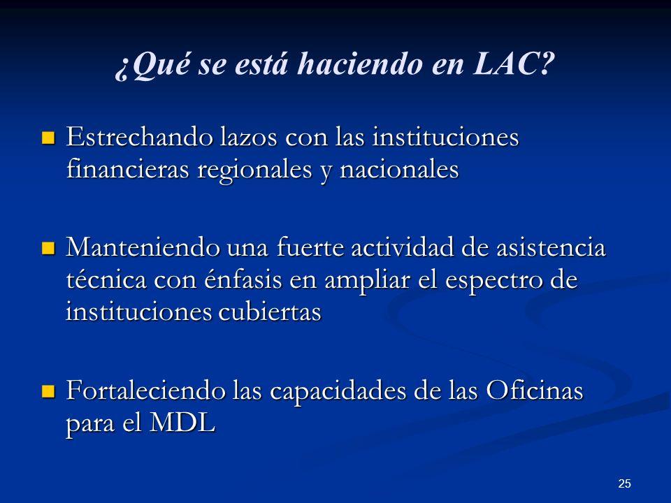 25 ¿Qué se está haciendo en LAC? Estrechando lazos con las instituciones financieras regionales y nacionales Estrechando lazos con las instituciones f