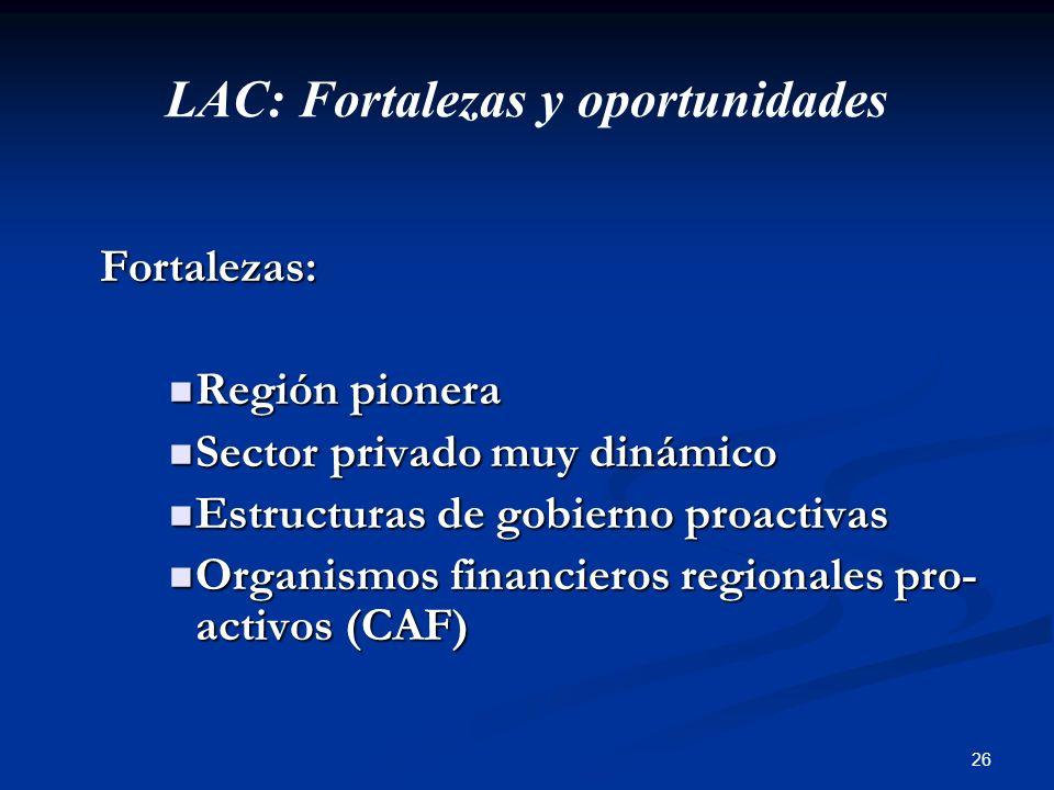 26 LAC: Fortalezas y oportunidades Fortalezas: Fortalezas: Región pionera Región pionera Sector privado muy dinámico Sector privado muy dinámico Estru