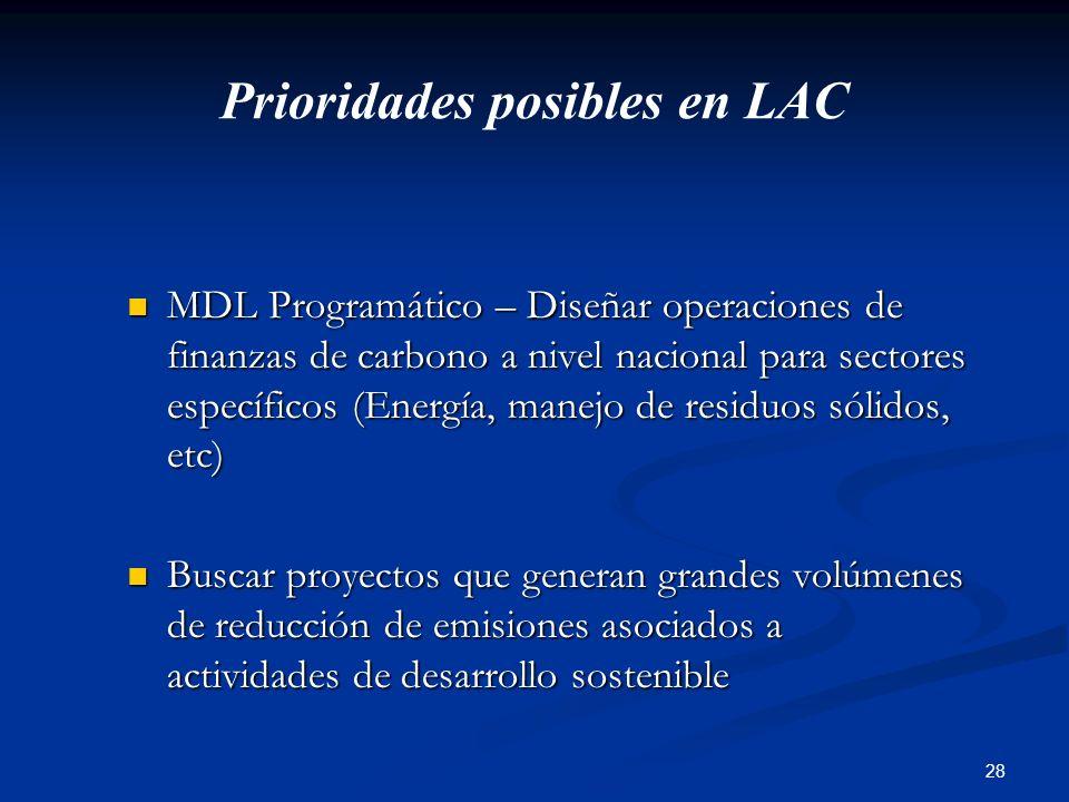28 Prioridades posibles en LAC MDL Programático – Diseñar operaciones de finanzas de carbono a nivel nacional para sectores específicos (Energía, mane